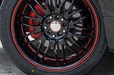 RUFF RACING® - R951 Black with Red Pinstripe and Undercut on Mitsubishi Eclipse