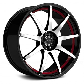 RUFF RACING® - R353 Black with Machined Face and Red Undercut