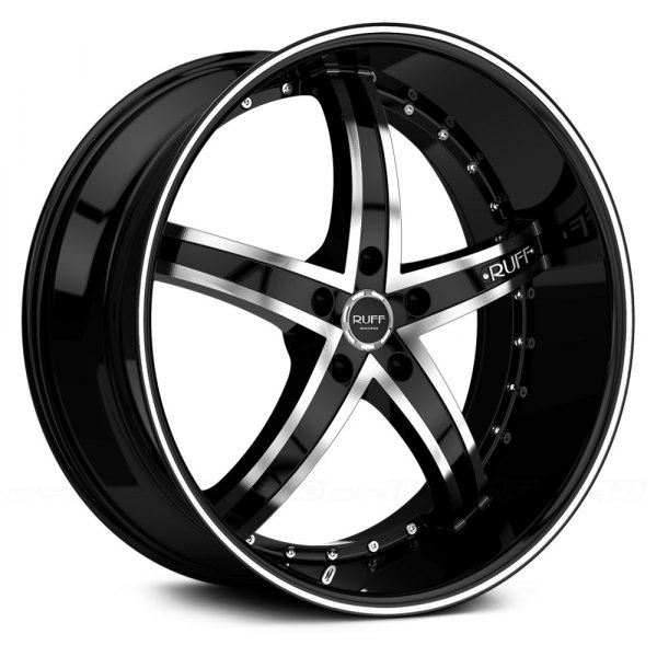 RUFF RACING® - R953 Black with Machined Face and Pinstripe