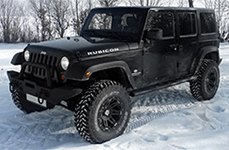 RUGGED RIDGE® - 15301 Satin Black with Machined Flange and Black Rim Protector on Jeep Wrangler
