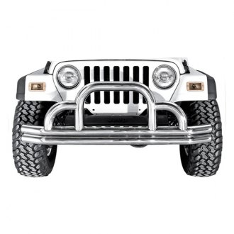 Rugged Ridge® - Defender Full Width Front Tubular Raw Bumper with Grille Guard