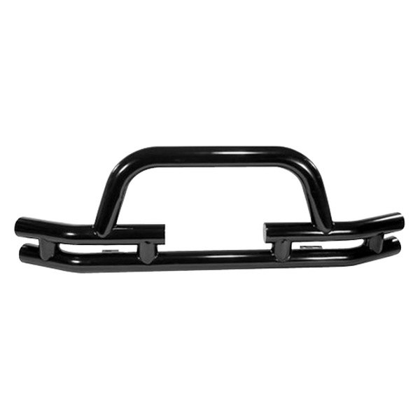 Rugged Ridge® - Full Width Front Tubular Winch Black Bumper with Hoop