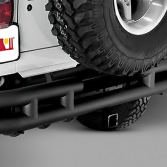 Rugged Ridge® - 3 Tube Rear Bumper (With Frame Mounted Hitch Receiver, Black)