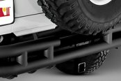 "Rugged Ridge® - 3"" Tube Rear Bumper, with Frame Mounted Hitch Receiver, Gloss Black"