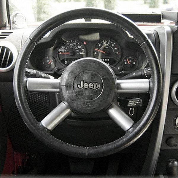 Rugged ridge jeep wrangler 2007 2010 steering wheel spoke accents for Jeep wrangler yj interior accessories