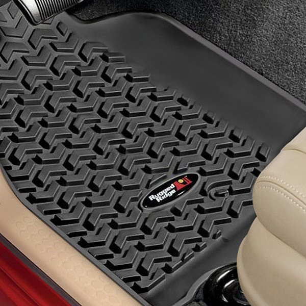 Image may not reflect your exact vehicle! Rugged Ridge® - All Terrain 1st Row Black Floor Liners