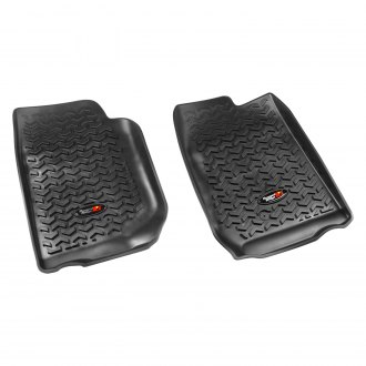 RUGGED RIDGE® - All Terrain 1st and 2nd Row Black Floor Liners, with Rugged Ridge Logo
