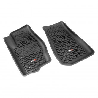 RUGGED RIDGE® - All Terrain 1st Row Black Floor Liners, with Rugged Ridge Logo