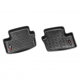 RUGGED RIDGE® - All Terrain 2nd Row Black Floor Liners, with Rugged Ridge Logo