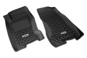 "Rugged Ridge® - All Terrain 1st Row Black Floor Liners, with ""Jeep"" Logo"