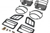 Rugged Ridge® - Euro Style Black Powdercoat Chrome Light Guard Kit