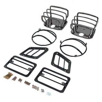 Rugged Ridge® - Euro Style Light Guard Kit, Black Chrome
