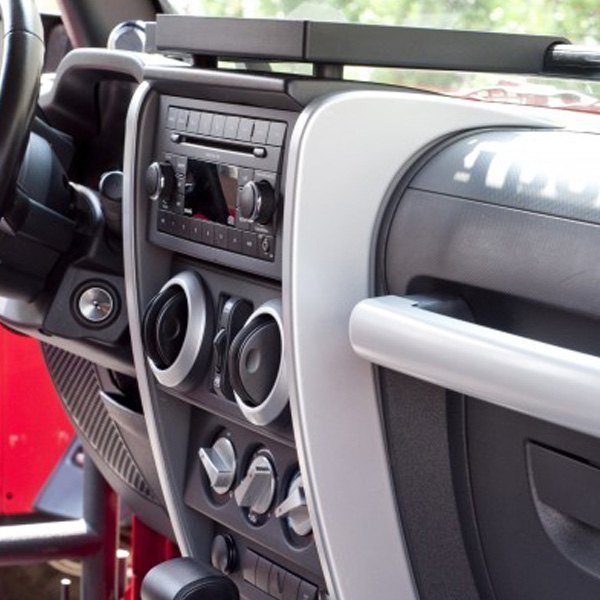 Rugged ridge jeep wrangler 2007 2010 center dash accent for Jeep wrangler yj interior accessories