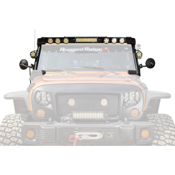 "Rugged Ridge® - Windshield Frame Elite Fast Track 216W Driving Beam LED Light Kit with 13"" Light Bar, (8) 3"" Lights, Mirrors"