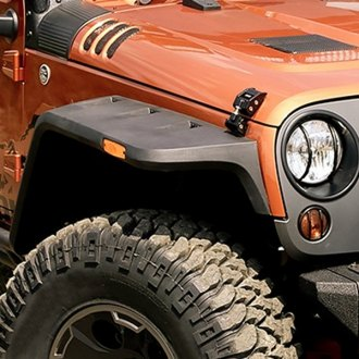 Rugged Ridge® - Hurricane Flat Smooth Black Front and Rear Fender Flares Kit