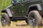 Image may not reflect your exact vehicle! Rugged Ridge® - RRC Black Rocker Guards
