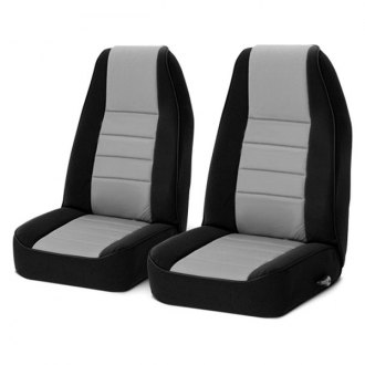 Image may not reflect your exact vehicle! Rugged Ridge® - Neoprene Black/Gray Front Seat Covers