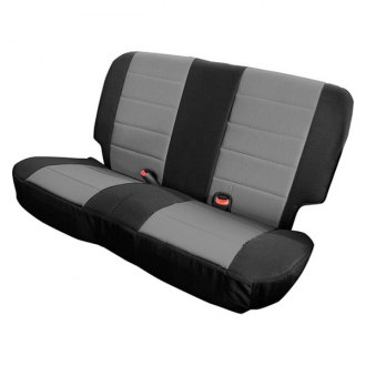 Image may not reflect your exact vehicle! Rugged Ridge® - Neoprene Black/Gray Rear Seat Covers