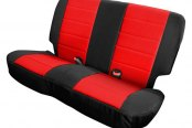 Image may not reflect your exact vehicle! Rugged Ridge® - Neoprene Black/Red Rear Seat Covers