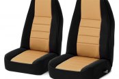 Image may not reflect your exact vehicle! Rugged Ridge® - Neoprene Black/Tan Front Seat Covers