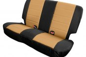 Image may not reflect your exact vehicle! Rugged Ridge® - Neoprene Black/Tan Rear Seat Covers