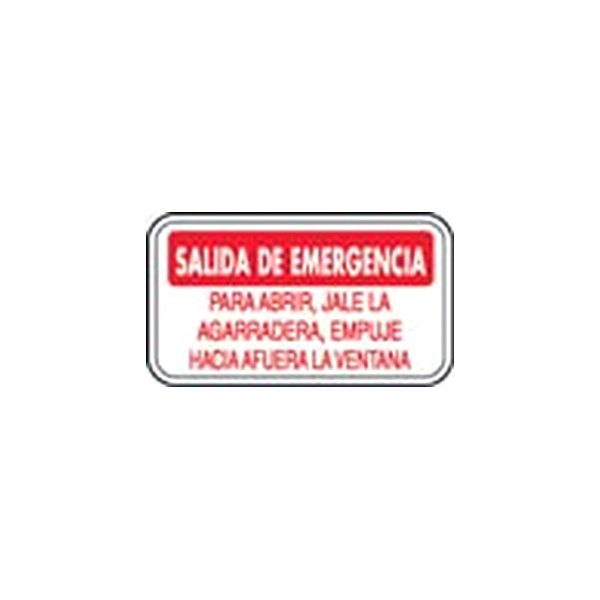 Safetruck D626s Emergency Exit Instructions Spanish Decal
