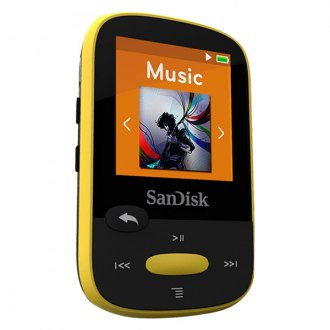 SanDisk® - Clip Sport 4 Gb Yellow Micro USB 2.0 Plastic Clip-On MP3 Player