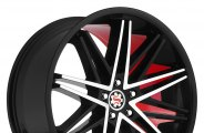 "SCARLET® - SW1-M SCARLETT Flat Black with Machined Face and Red Inner (18"" x 8.5"", +35 Offset, 5x120.65 Bolt Pattern, 74.1mm Hub)"