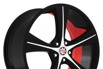 "SCARLET® - SW4-M LOREN Flat Black with Machined Face and Red Inner (20"" x 8"", +35 Offset, 5x114.3 Bolt Pattern, 74.1mm Hub)"