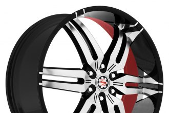 "SCARLET® - SW8-M TAYLOR Flat Black with Machined Face and Red Inner (26"" x 9.5"", +13 Offset, 6x139.7 Bolt Pattern, 79mm Hub)"