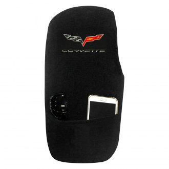 Seat Armour® - Black Cotton/Terry Velour Console Cover with C6 Logo