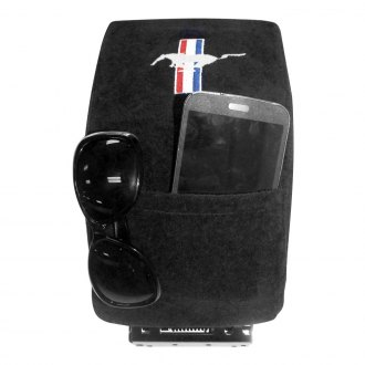 Seat Armour® - Black Cotton/Terry Velour Console Cover with Mustang Logo