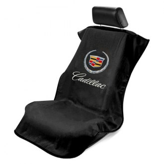 Seat Armour® - Black Towel Seat Cover with Cadillac Logo