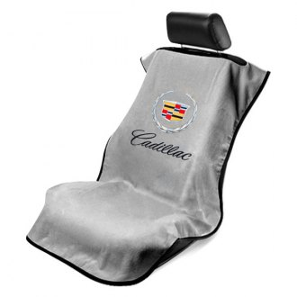 Seat Armour® - Gray Towel Seat Cover with Cadillac Logo