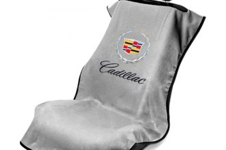 Seat Armour® SA100CADG - Gray Towel Seat Cover with Cadillac Logo