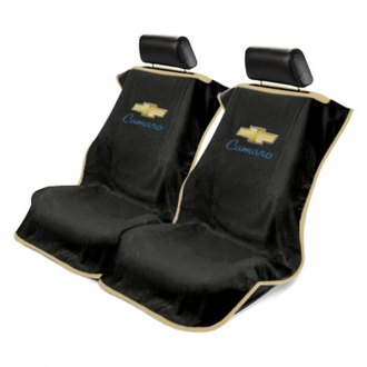 Seat Armour® - Black Towel Seat Cover with Old Style Camaro Logo