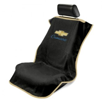 Seat Armour® - Black Towel Seat Cover (Old Style Camaro Logo)