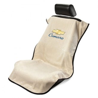 Seat Armour® - Tan Towel Seat Cover with Old Style Camaro Logo