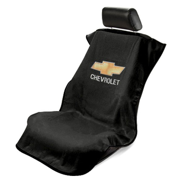 Seat Armour® - Black Towel Seat Cover with Chevy Logo