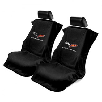 Seat Armour® - Black Towel Seat Cover with Corvette C7 Logo
