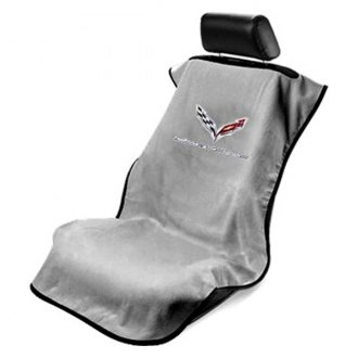 Seat Armour® - Gray Towel Seat Cover with Corvette C7 Logo