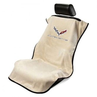 Seat Armour® - Tan Towel Seat Cover with Corvette C7 Logo