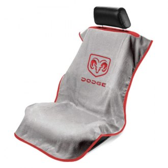 Seat Armour® - Gray Towel Seat Cover with Dodge Logo Old Style