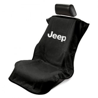 Seat Armour® - Black Towel Seat Cover with Jeep w/o Grille Logo