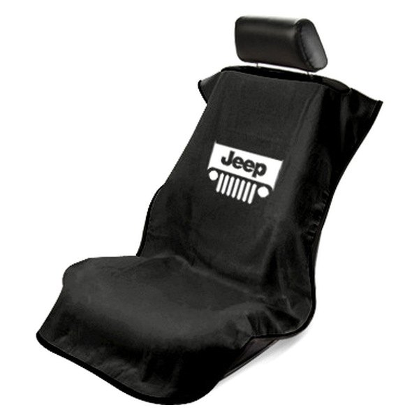 Jeep Seat Covers >> Seat Armour Sa100jepgb Black Towel Seat Cover With Jeep With Grille Logo