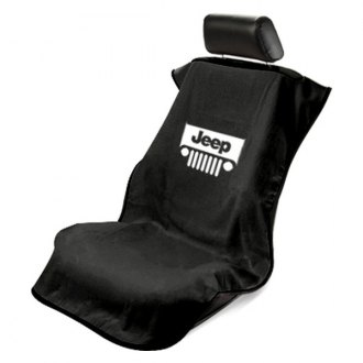 Seat Armour® - Black Towel Seat Cover with Jeep with Grille Logo