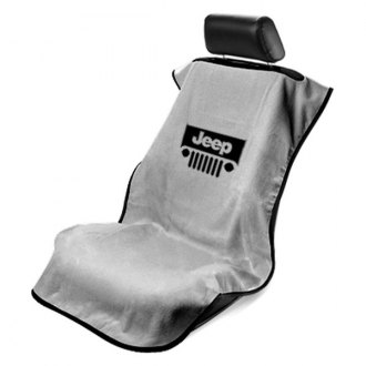 Seat Armour® - Gray Towel Seat Cover with Jeep with Grille Logo