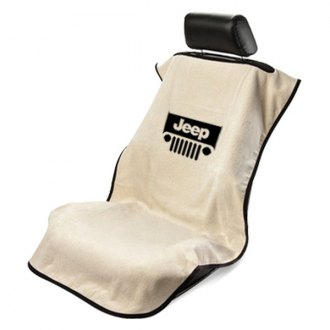 Seat Armour® - Tan Towel Seat Cover with Jeep with Grille Logo