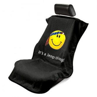 Seat Armour® - Black Towel Seat Cover with Smiley Face Logo