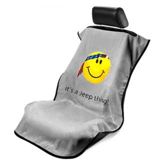 Seat Armour® - Gray Towel Seat Cover with Smiley Face Logo